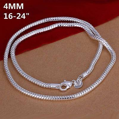 New 925Sterling Solid Silver Men Jewelry 4MM Snake Chain 24inch Necklace N191