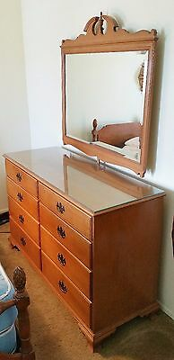 Vintage 1950's Maple Double Dresser And Mirror