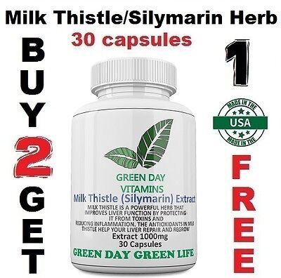 New Milk Thistle/Silymarin Herb 1000mg Helps Repair Liver Health Made USA