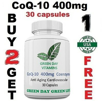 CoQ-10 400mg Coenzyme Promotes Heart & Cardiovascular Wellness Made USA