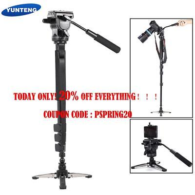 Tripod Monopod Stand + Fluid Pan Head + Unipod Base Holder For Camera Camcorder