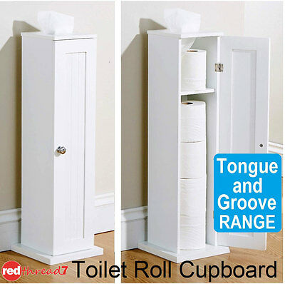 White Tongue & Groove Wooden Toilet Paper Storage Dispenser Cabinet Bathroom New