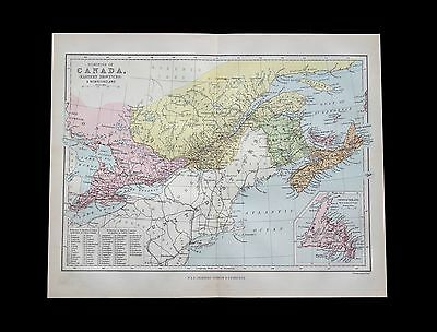 Antique 1883 colour map of CANADA Eastern Provinces - 130+ years old & VGC !