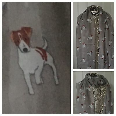 Jack Russell Terrier Dog Scarf Shawl Grey  New Large Ideal Christmas Gift