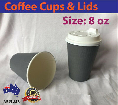 Disposable Paper Coffee Cups 8oz 250ml  Double Wall Takeaway Grey Cafe Resturant