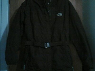 North Face Girls Size Xl Brown  Jacket With Belt  And Hood Great Condition