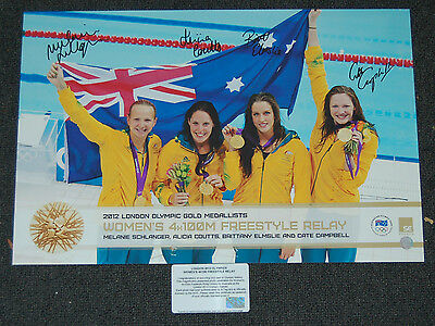 Australian Womens 4X100M Freestyle Relay Gold Medallists 2012 Signed Print
