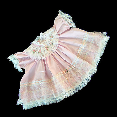 """Handmade Dolls Clothes Ruffled Lace Pink Dress Fits 14"""" – 16"""" Baby Born Doll"""