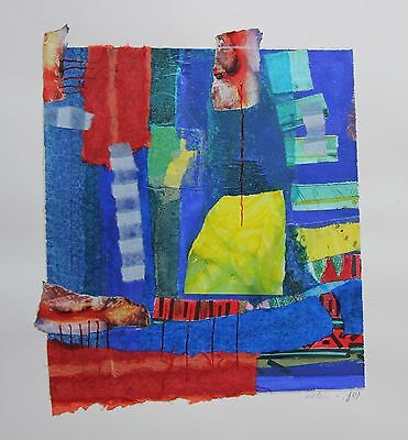 Signed Original Art blue red collage mix media israeli Modern abstract painting