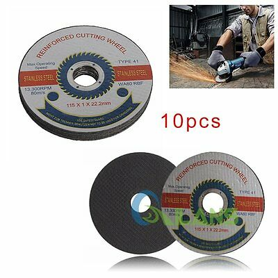 "10Pcs 115mm/4.5"" Thin Stainless Steel Reinforced Grinder Cutting Wheels Discs"