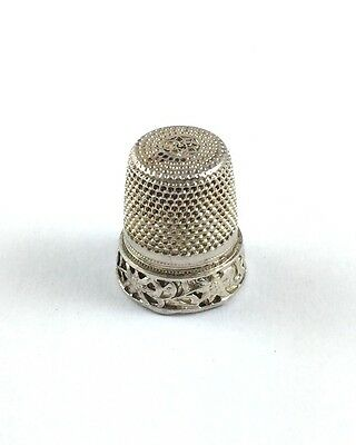 Beautiful Solid Silver Thimble With Floral Design 925 01