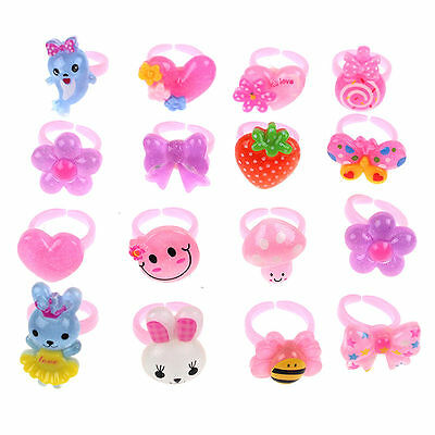 Wholesale 20Pcs Mixed Lots Cute Cartoon Children/Kids Resin Lucite Rings New