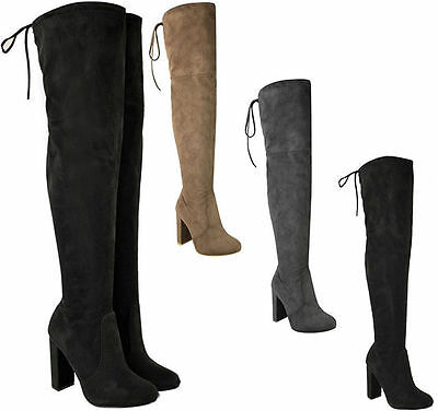 Womens Ladies Over The Knee Boots Suede Shoes High Heel Block Lace Thigh Size