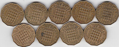 9x QEII 3 pence coins