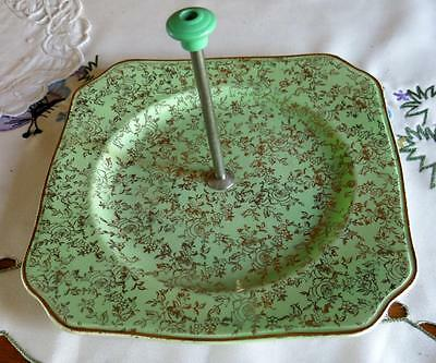 Vintage Empire England Shelton Green Cake Plate With Green Bakelite Handle