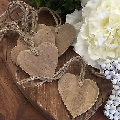 6x Wooden HEART Gift Tags/Christmas Tree Decorations/Rustic Labels/Wedding/Kraft