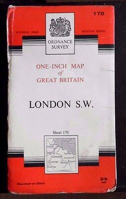 Vintage, Ordnance Survey on Cloth Sheet Map No 170, London S.W. ,1965 Edition
