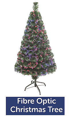 Fibre Optic Colour Changing Green Christmas Tree Xmas - 2ft 3ft 4ft 5ft 6ft
