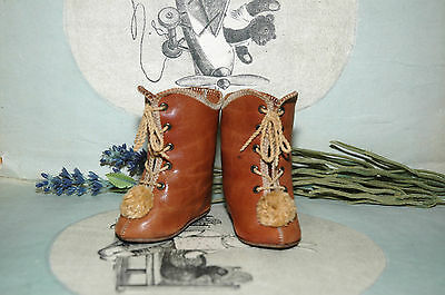 """Beautiful leather shoes for Jumeau Bru Steiner doll 3"""" (75 mm)"""