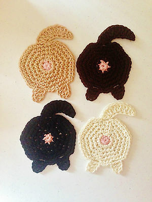 NEW Crochet Sassy Cat Butt Cup Coasters 100 % Cotton Set of Four Colours Cute