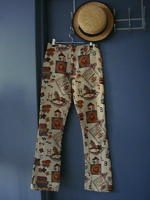 {=} Coolest 70s' Hippy Flatfront Taupe Tapestry Nursery Scene Bootleg Pants 6-8