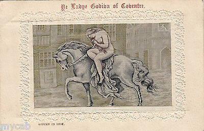 Postcard Lady Godiva on horse picture in Woven Silk posted Coventry 1906