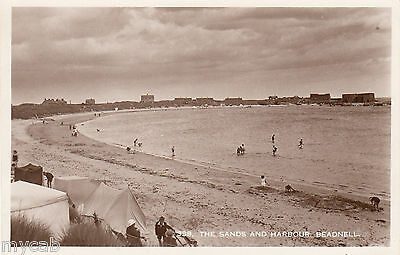 Postcard Beadnell near Seahouses Northumberland view of The Sands and Harbour RP