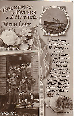 Postcard Greetings to Father and Mother flowers flag soldiers Titanic etc RP