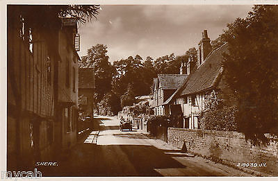 Postcard Shere near Guildford Surrey early village view with motor car RP