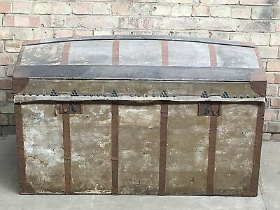 Antique French Antique Domed Seaman's Trunk Original Leather