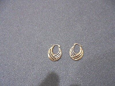 Lovely  9 Kt White And Yellow  Gold Earrings