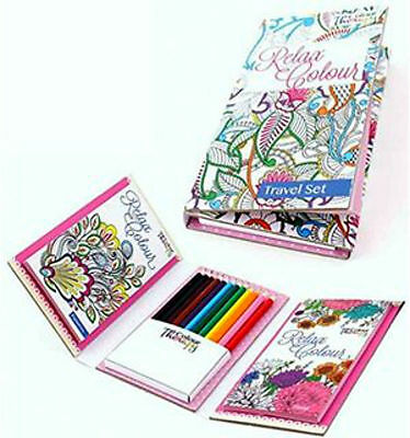TRAVEL SET ANTI STRESS ADULT COLOUR THERAPY COLOURING BOOK 12 Pencils