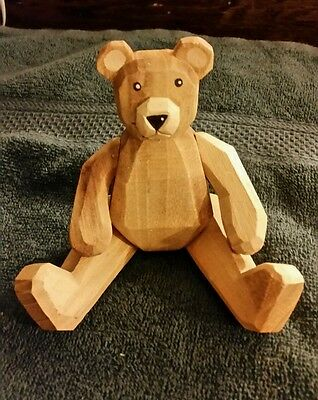 """6"""" carved wooden jointed bear"""