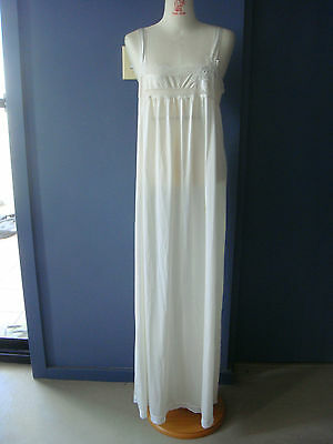 {=} Exquisite Ivory Long Maxi Slip w Lace Border n Trio of Daffodils Lingerie 10