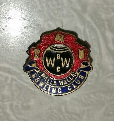Walla Walla Bowling Club Badge **Rare Vintage**