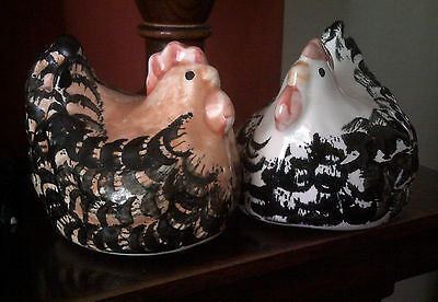 Vintage retro 2 over-sized cute fat hens salt and pepper pots