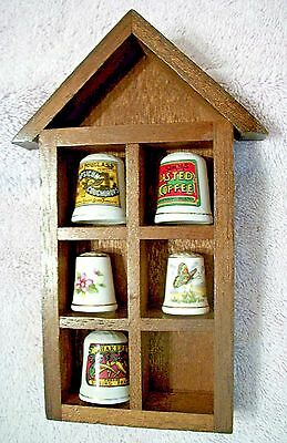 "Wood display Shelf Shadow Box with 5 Porcelain Thimbles Vintage 7 1/2""  #15"