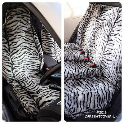 Infiniti QX70  - GREY TIGER Faux Fur Furry Car Seat Covers - Full Set