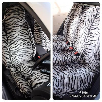 Renault Zoe  - GREY TIGER Faux Fur Furry Car Seat Covers - Full Set