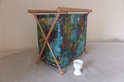 Vintage wool knitting storage bag/box turquoize fabric/wood. lovely condition
