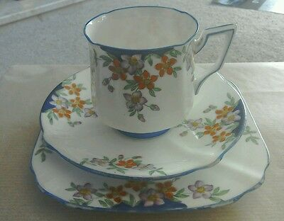 bell china pattern 2612 trio and three further side plates, art deco, floral