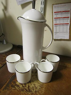 Royal Doulton Platinum Line Cafetiere + 4 Stirling Coffee Cans 7 Cm Tall