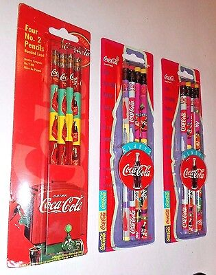 12 Coca-Cola Brand Number 2 Leaded Pencils 1995-96 (3) Four Packs NOS #16