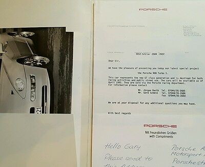 Porsche 968 Turbo S Customer Invitation Document