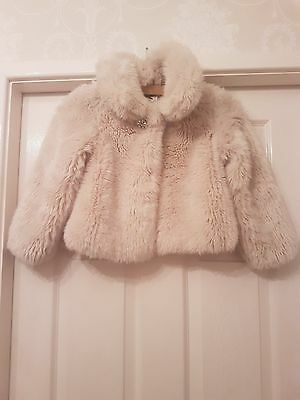 Beautiful Girls Cream Fur Jacket By (Autograph) Marks & Spencer - Size 5-6 Years