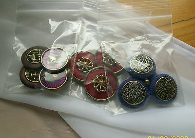 vintage buttons lot of over 12 assorted multi coloures  buttons various sizes