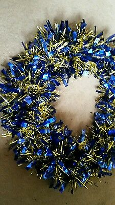 Blue and gold tinsel wreath