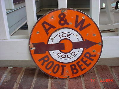 A And W Root Beer Soda Porcelain Sign