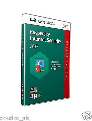 Kaspersky Internet Security 2017 Multi-Device for 3 PC/Devices Windows/Mac  NEW