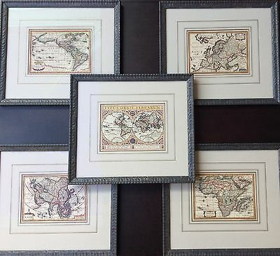 c.1634 set of five mounted and framed maps by Jan Jansson & Abraham Goos